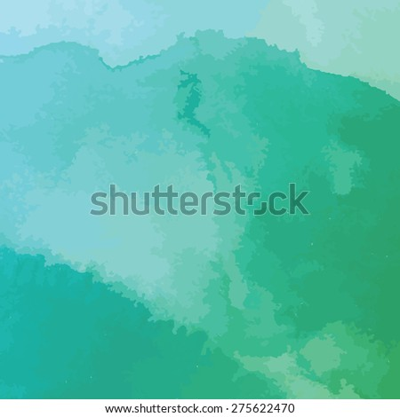 green and blue watercolor texture background, hand painted vector illustration - stock vector