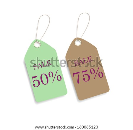 Green and brown price sale  tags. Vector EPS 8 - stock vector