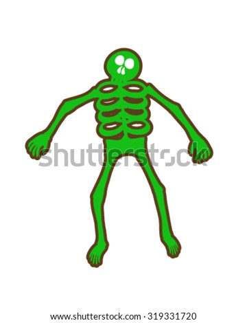 Green and brown skeleton