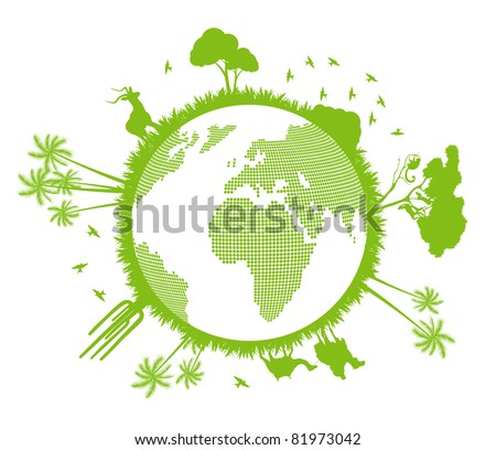 Green and clean ecology earth globe Africa animal and nature concept vector background