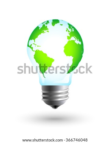 Green and eco earth with lightbulb as energy saving and sustainable development concept. Vector eps10 illustration.