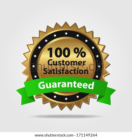 Green and Gold Customer Satisfaction Guaranteed isolated on a white background - stock vector