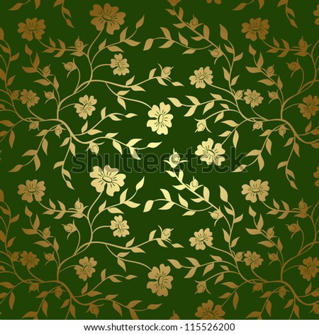 green and gold floral texture for background - vector - stock vector