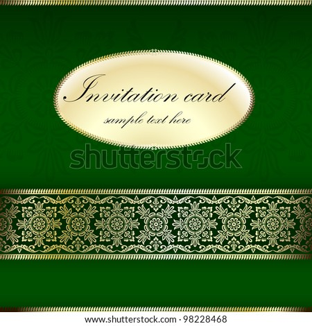 Green and gold invitation card with ornament motif - stock vector