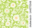 Green and golden garden silhouettes seamless pattern background - stock vector