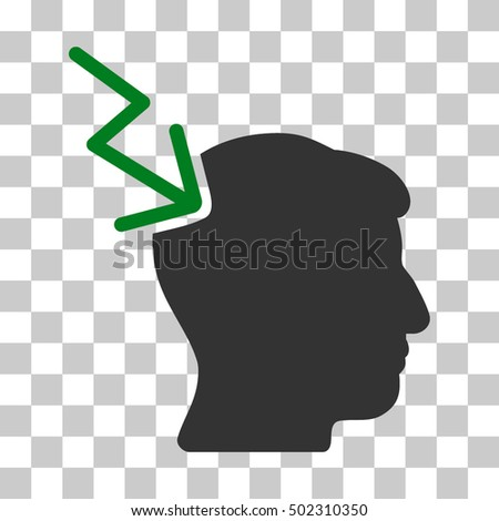 Green And Gray Head Electric Strike toolbar pictogram. Vector pictograph style is a flat bicolor symbol on chess transparent background.