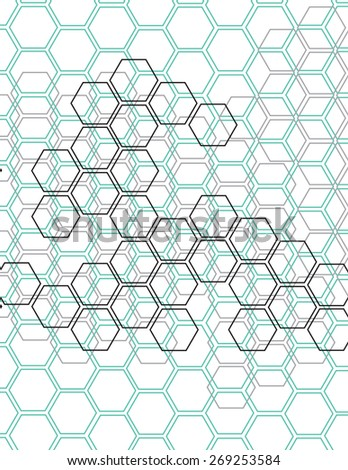 Green and gray honey comb pattern over white background - stock vector