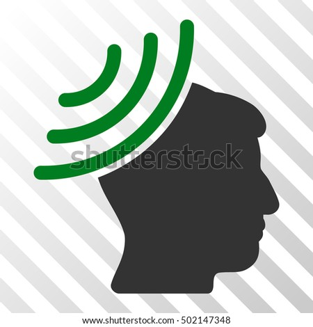 Green And Gray Radio Reception Mind interface pictogram. Vector pictogram style is a flat bicolor symbol on diagonal hatch transparent background.