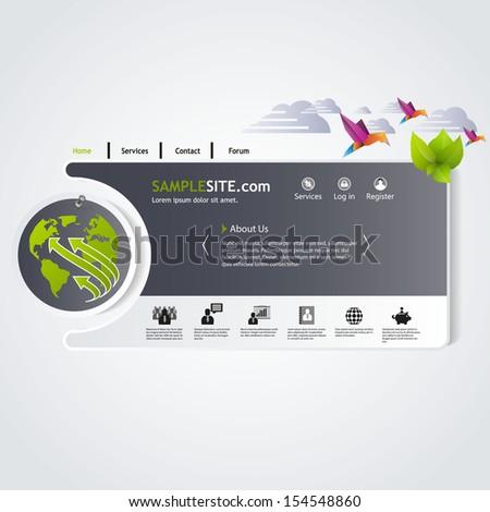 green and grey abstract web design  - stock vector