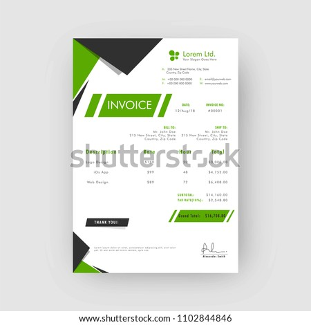 green grey corporate invoice estimate template stock vector