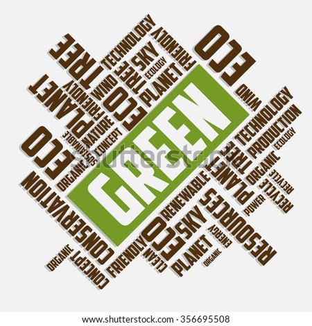 Green and Nature word cloud concept - stock vector