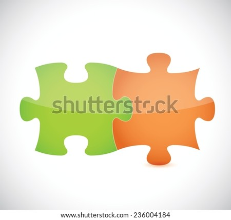 green and orange puzzle pieces illustration design over a white background - stock vector