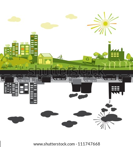 Green and polluted cities - stock vector