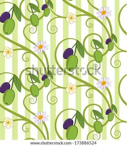 Green and purple olives with flowers and light green stripes seamless pattern. EPS10 (Pattern tile is located in the swatch panel) - stock vector