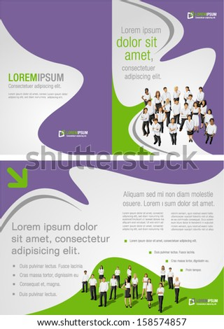 Green and purple template for advertising brochure with business people