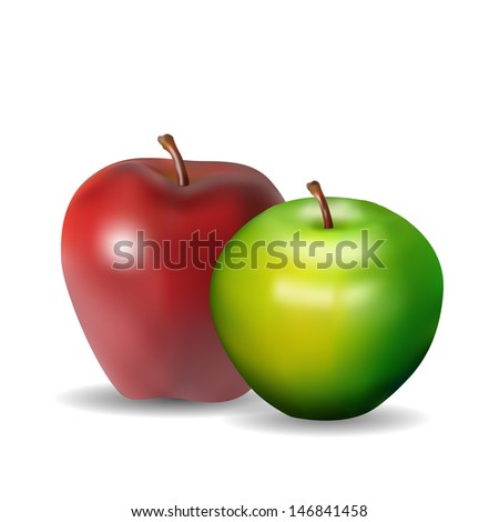 green and red apple, vector illustration