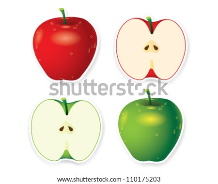 Green and red apples - vector illustration