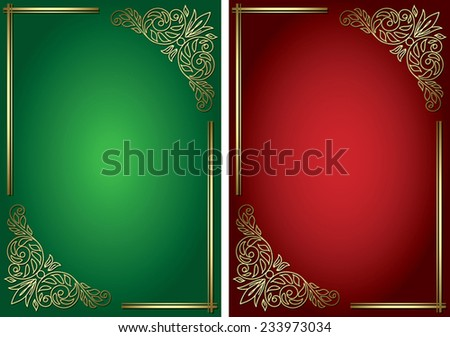 green and red backgrounds with golden decor - vector - eps 8 - stock vector