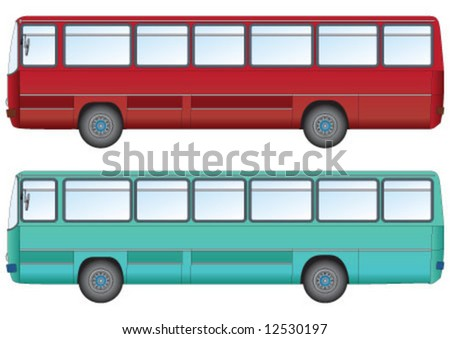 Green and Red bus for public transportation - stock vector