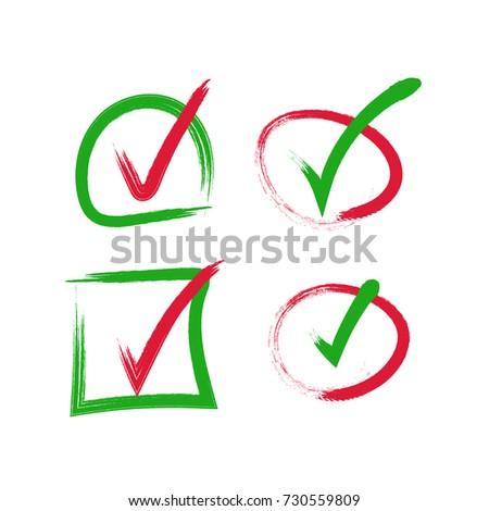 Green Red Check Mark Icon Tick Stock Vector 730559809 Shutterstock
