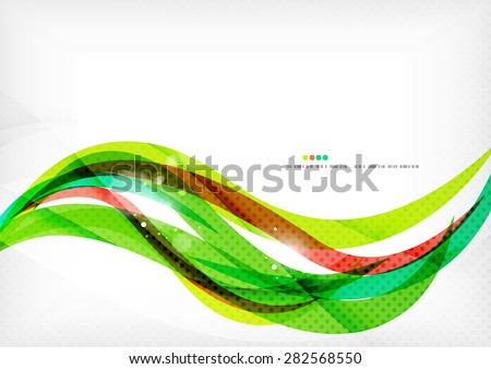 Green and red line swirls, modern abstract background - stock vector