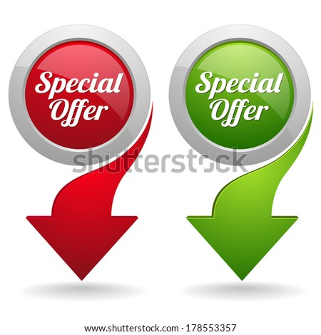 Green and red special offer button with arrow