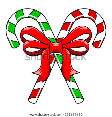 Green and red striped Christmas Candy Canes tied with red ribbon bow - stock vector