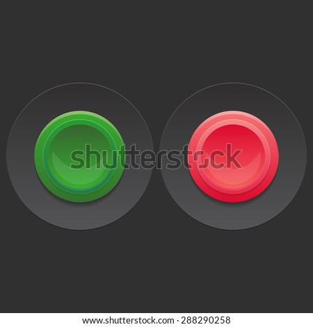 Green and red Vector Buttons for your design  on black background - stock vector