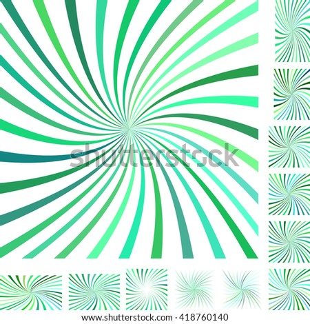 Green and white vector spiral design background set. Different color, gradient, screen, paper size versions. - stock vector