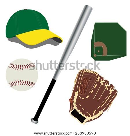 Green and yellow baseball hat, brown baseball glove, baseball diamond, white baseball ball vector icon set - stock vector