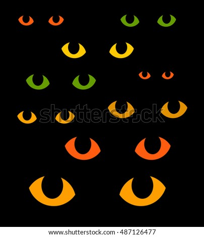 Green and yellow cat eyes in darkness. Vector illustration