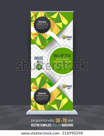 Green and Yellow Colors Low Poly Style Shine Roll-Up Banner, Advertising Vector Background Design