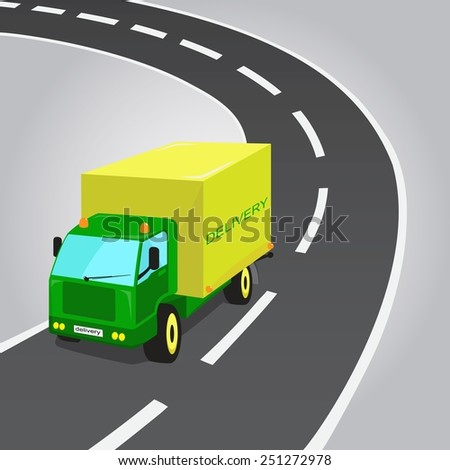 Green and Yellow Delivery Truck, vector illustration.  - stock vector