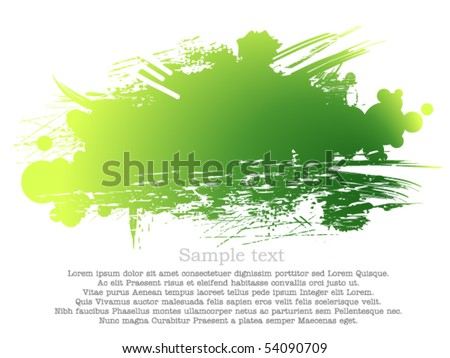 Green and yellow ink patch - stock vector