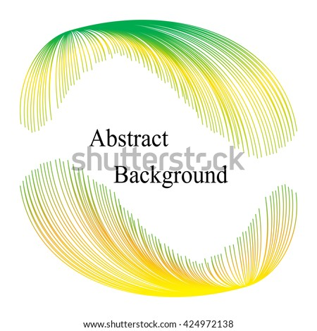 Green and Yellow Iridescent  Striped Elements  with Text in the Center.Abstract  Background. Template for  Labels,  Banners, Badges, Posters, Stickers and Advertising Actions. Vector Illustration - stock vector