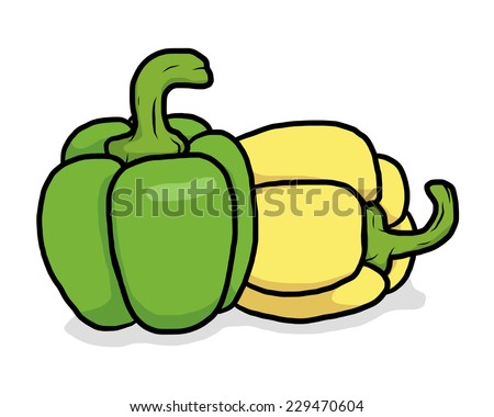 green and yellow sweet peppers / cartoon vector and illustration, hand drawn style, isolated on white background. - stock vector