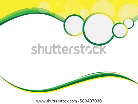 Green and Yellow wave business template with sparkle bokeh modern texture pattern for text and message website design. Vector background design.