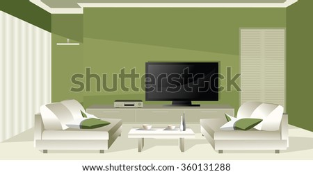 Green apartment - Illustration. Luxury apartment  - stock vector