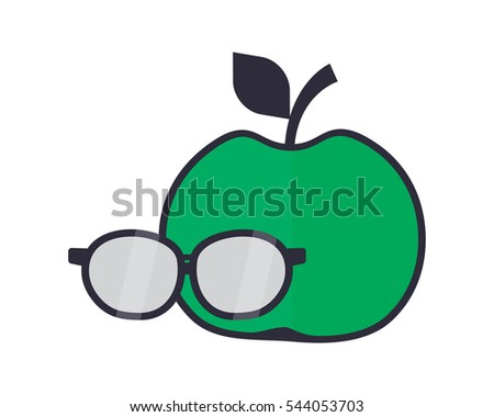 green apple and glasses