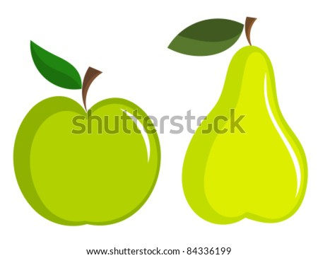 Green apple and pear vector icons - stock vector