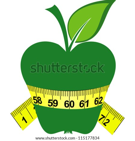 Green apple and tape isolated on a white background. Vector Illustration - stock vector