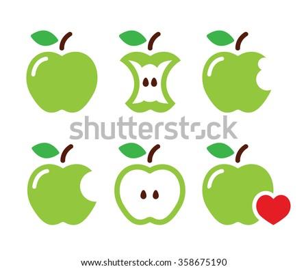 Green apple, apple core, bitten, half vector icons - stock vector