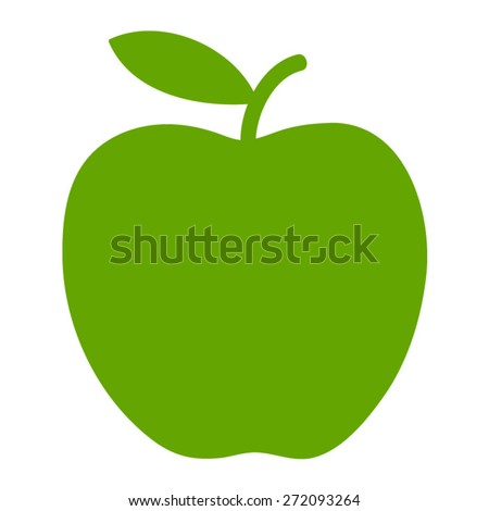 Green apple / delicious apple flat icon for apps and websites - stock vector