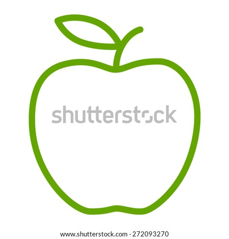 Green apple / delicious apple line art icon for apps and websites - stock vector