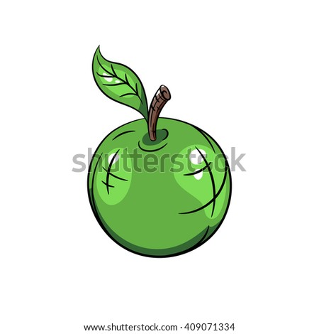 Green apple hand drawn illustration isolated on a white background - stock vector