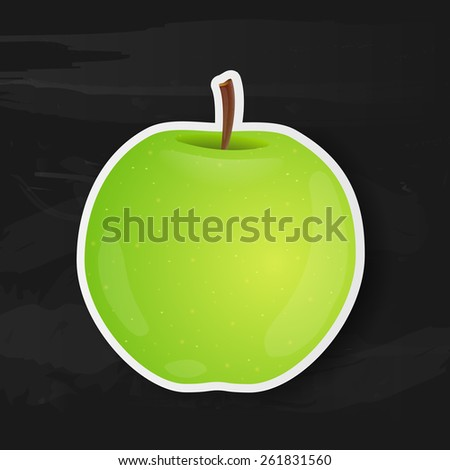 Green apple isolated on black background. Vector illustration. - stock vector