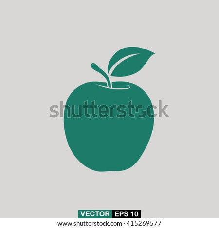 green apple on a gray background