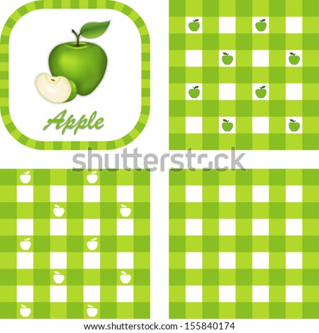 Green Apple, Slice, Label, Gingham check seamless patterns in 3 styles. EPS8 file includes 3 pattern swatches that will seamlessly fill any shape.  - stock vector