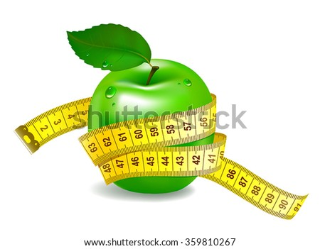 Green apple with measuring tape. The symbol of healthy nutrition