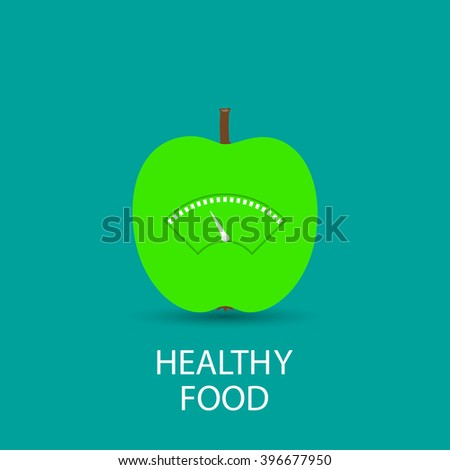 Green Apple With Scale for a Weighing Machine. Vector - stock vector